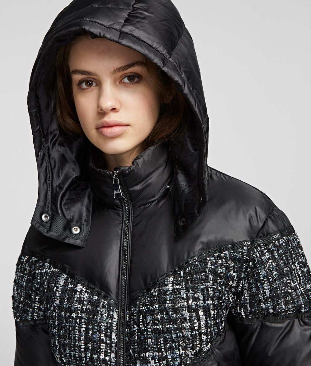 KARL LAGERFELD Bouclé MIx Down Jacket Coat Woman d