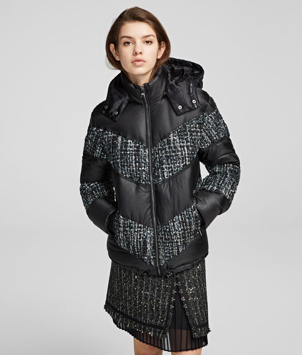 KARL LAGERFELD Bouclé MIx Down Jacket Coat Woman f