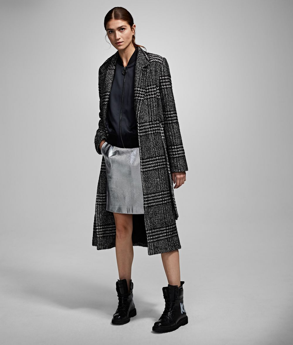 KARL LAGERFELD Checked Tailored Coat Coat Woman f