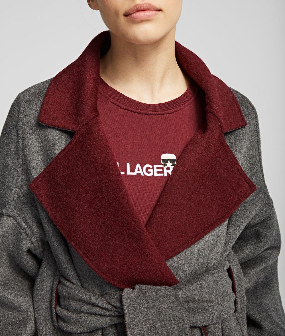 KARL LAGERFELD Wool Blend Wrap Coat Coat Woman d