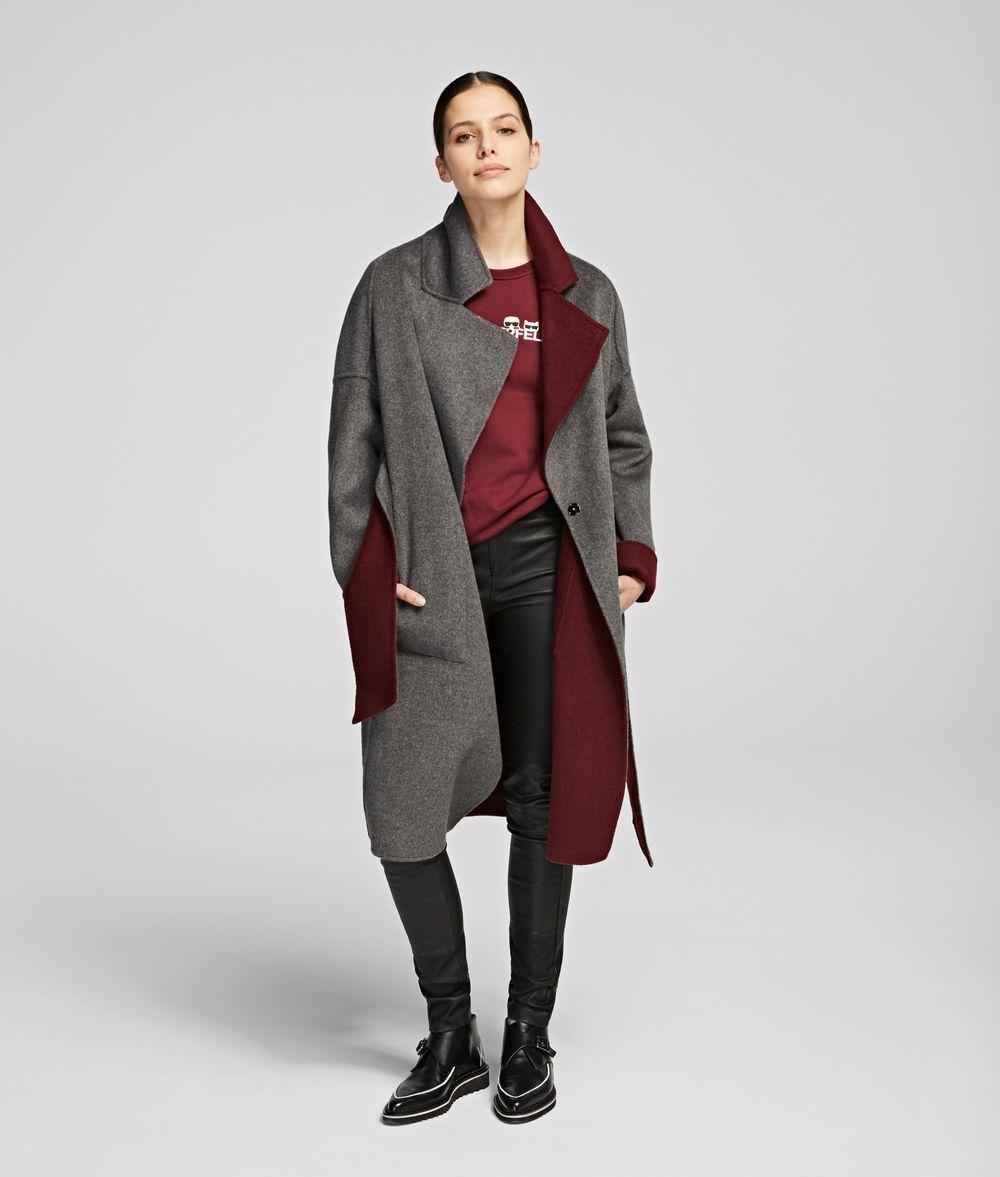 KARL LAGERFELD Wool Blend Wrap Coat Coat Woman f