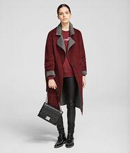 KARL LAGERFELD Wool Blend Wrap Coat 9_f