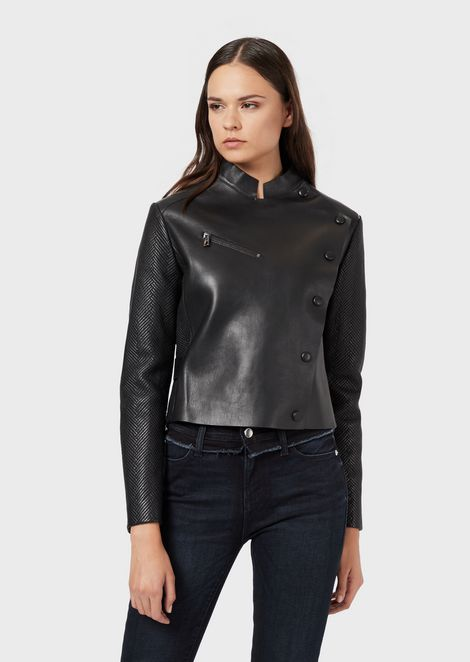 Aniline nappa leather jacket with quilted details