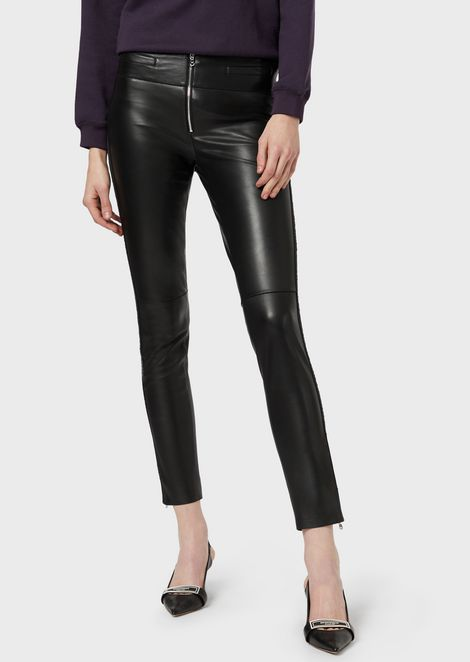 Semi-aniline, nappa sheepskin leather trousers with logoed stripe