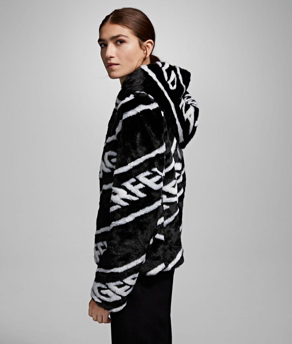 KARL LAGERFELD Faux Fur Logo Jacket Coat Woman d