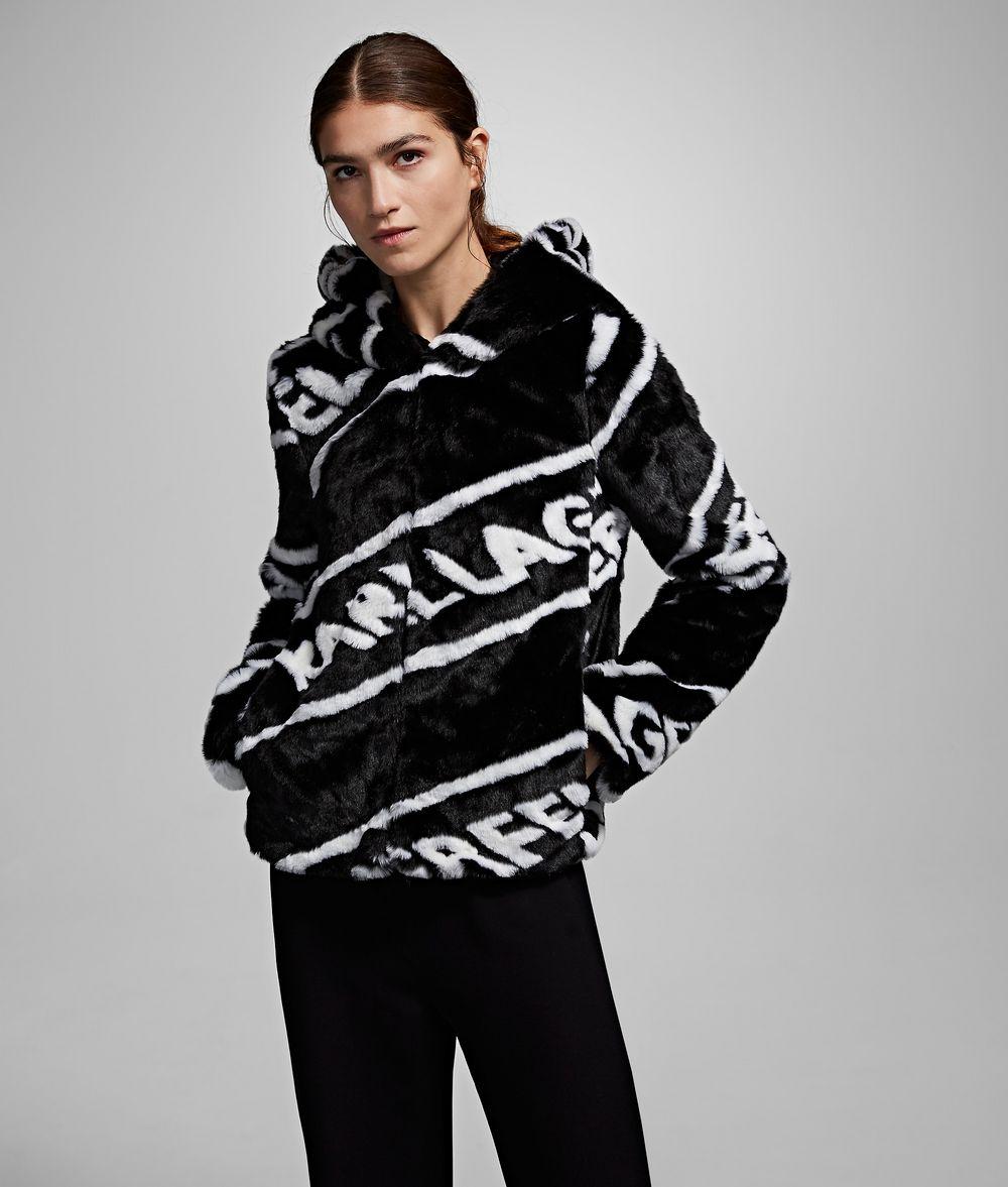 KARL LAGERFELD Faux Fur Logo Jacket Coat Woman f