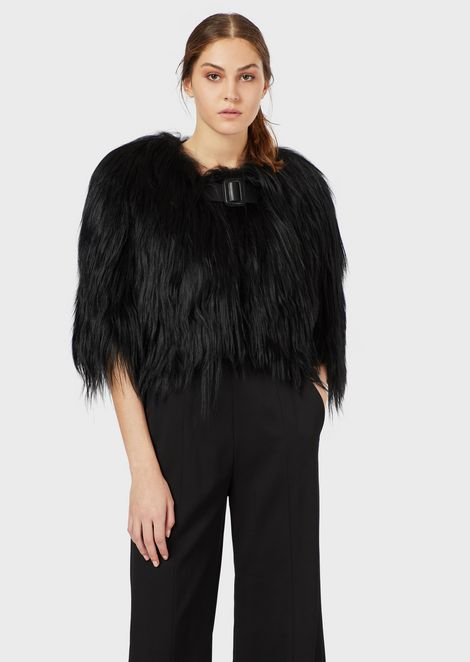 Long fur coat with strap detail