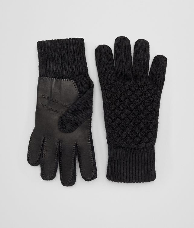 BOTTEGA VENETA NERO WOOL/LEATHER GLOVE Hat or gloves [*** pickupInStoreShippingNotGuaranteed_info ***] fp