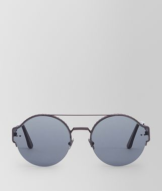 SUNGLASSES IN BURNISHED METAL WITH SMOKE LENS