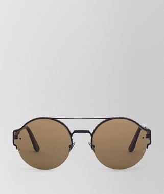 SUNGLASSES IN BLACK METAL WITH BROWN LENS