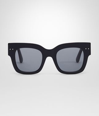 SUNGLASSES IN BLACK ACETATE RUBBER GREY POLARIZED LENS