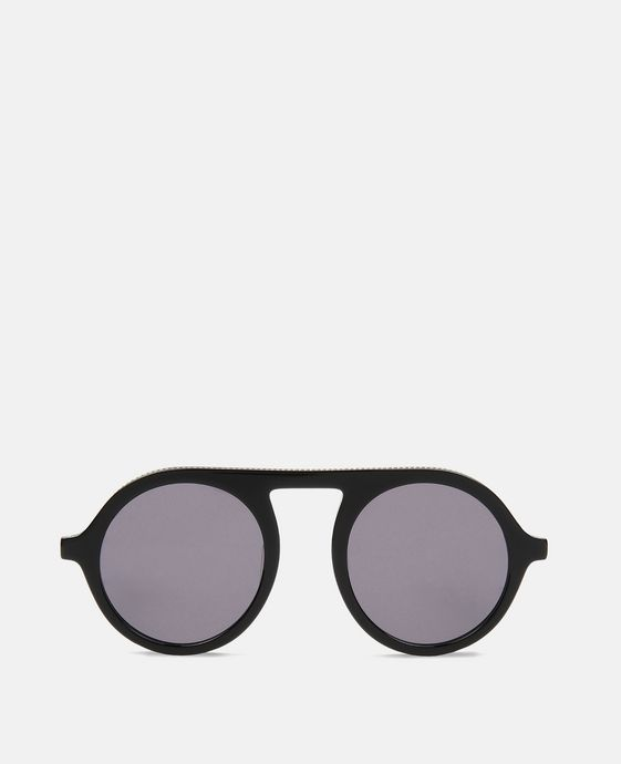 Shiny Black Round Sunglasses
