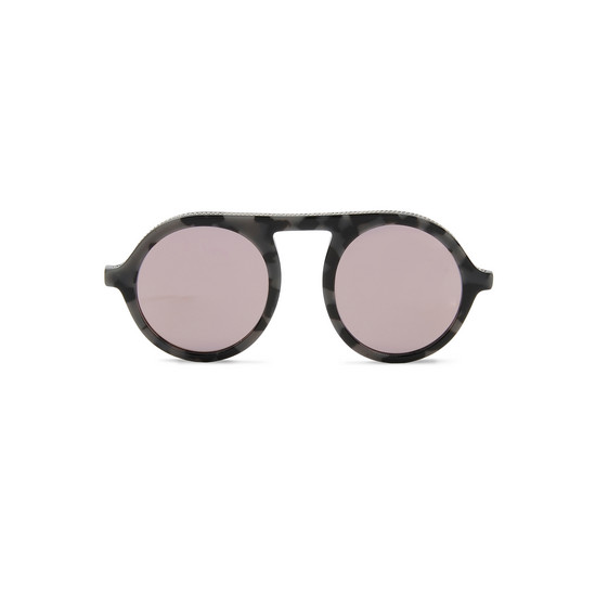 Grey Tortoise Round Sunglasses