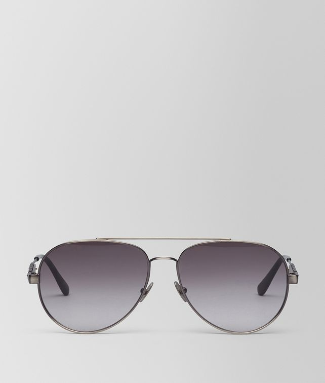 BOTTEGA VENETA SUNGLASSES IN SILVER METAL WITH GREY LENS Sunglasses E fp