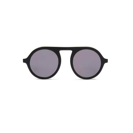 Shiny Black Round Sunglasses