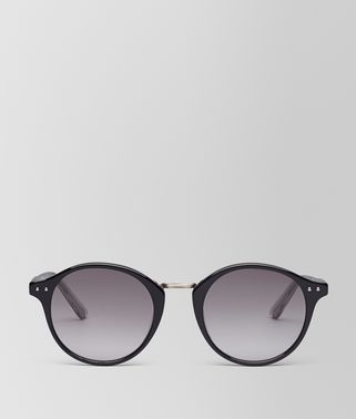 SUNGLASSES IN SHINY BLACK ACETATE, GRADIENT GREY LENS