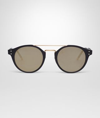 SUNGLASSES IN BLACK ALLUMINUM, BRONZE MIRROR LENS