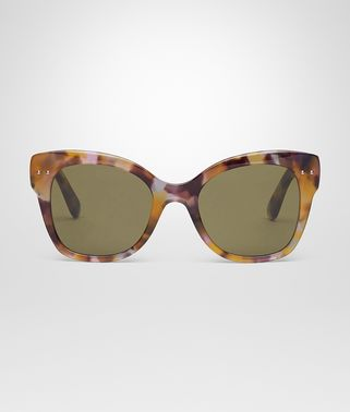 SUNGLASSES IN OLIVE PINK HAVANA ACETATE, SOLID GREEN LENS
