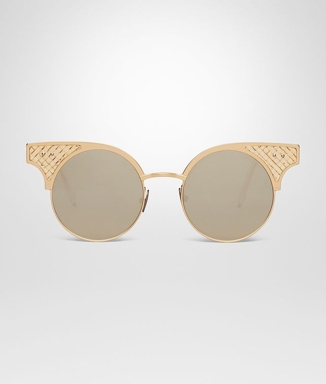 BOTTEGA VENETA BV15 SUNGLASSES IN GOLD TITANIUM, LIGHT MIRROR GOLD LENS AND GOLD 18KT INTRECCIATO DETAILS Sunglasses Woman fp