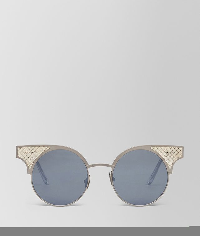 BOTTEGA VENETA BV15 SUNGLASSES IN SILVER TITANIUM, LIGHT SILVER MIRROR LENS AND SILVER 925 INTRECCIATO DETAILS Sunglasses Woman fp