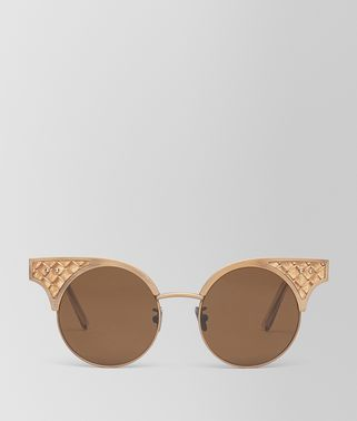 SUNGLASSES IN BRONZE STAINLESS STEEL LEATHER, SOLID GREY LENSES AND INTRECCIATO DETAILS ON THE FRAME