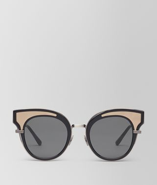 SUNGLASSES IN SHINY BLACK ACETATE, SOLID GREY LENSES