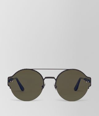 SUNGLASSES IN BLACK METAL, LIGHT GREY LENSES