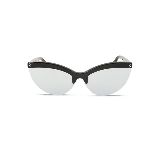 Black Semi-Rimless Cat Eye Sunglasses