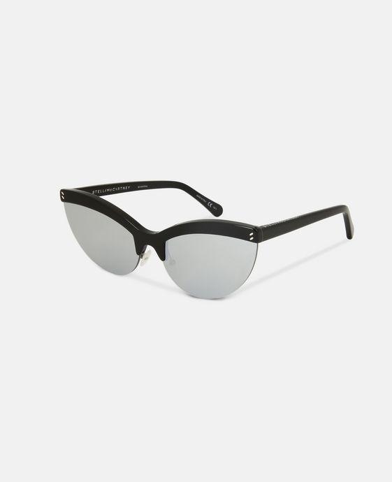 STELLA McCARTNEY Black Semi-Rimless Cat Eye Sunglasses  Eyewear D h