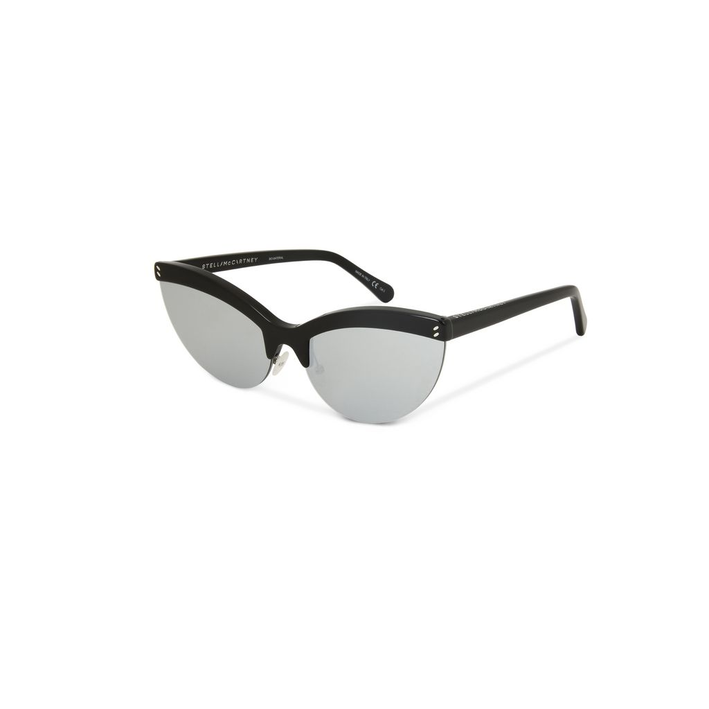 Black Semi-Rimless Cat Eye Sunglasses  - STELLA MCCARTNEY