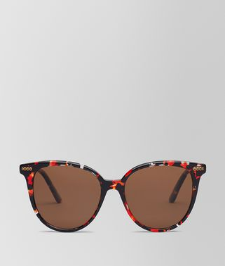 SUNGLASSES IN SHINY BLACK ACETATE RED HAVANA, SOLID BROWN LENS