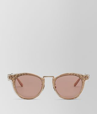 SUNGLASSES IN ROSE GOLD METAL AND SHINY TRANSPARENT HONEY ACETATE, SOLID RUST LENS