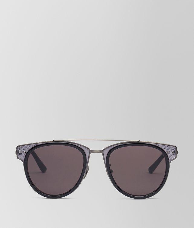 BOTTEGA VENETA SUNGLASSES IN SHINY BLACK ACETATE AND GREY METAL, SOLID GREY LENS Sunglasses E fp