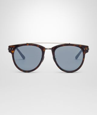 SUNGLASSES IN SHINY DARK HAVANA ACETATE AND METAL, MIRROR SILVER LENS