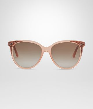 SUNGLASSES IN SHINY MILKY RUST ACETATE AND CALVADOS AYERS LEATHER, GRADIENT BROWN LENS