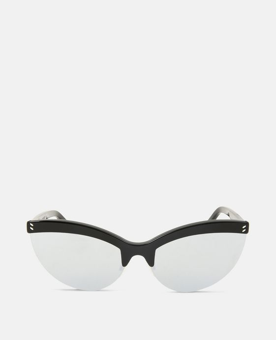 Black Semi-Rimless Cat Eye Sunglasses