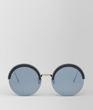 GOLD METAL/LEATHER SUNGLASSES