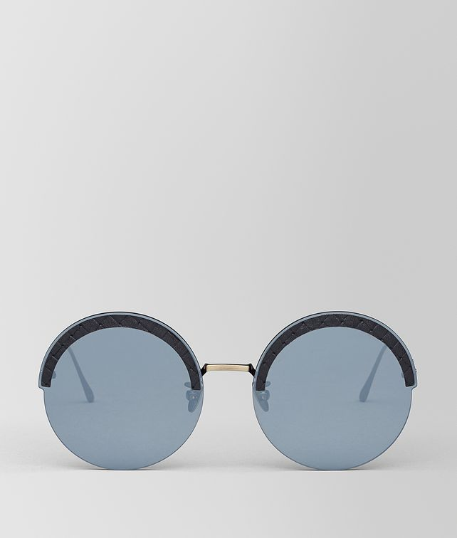 BOTTEGA VENETA GOLD METAL/LEATHER SUNGLASSES Sunglasses [*** pickupInStoreShipping_info ***] fp