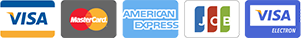 Cartes bancaires acceptées : Visa, Mastercard, American Express, JCB