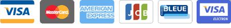 Cartes bancaires acceptées : Visa, Mastercard, American Express, JCB, Visa Electron, PostePay